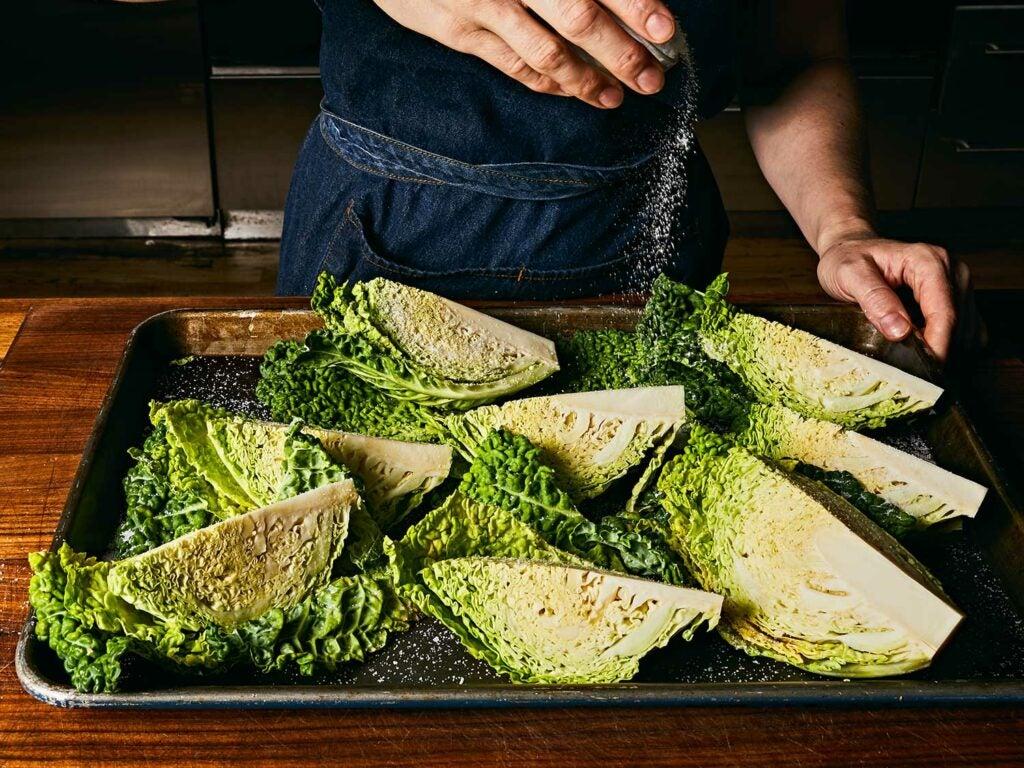 Salting cabbage.