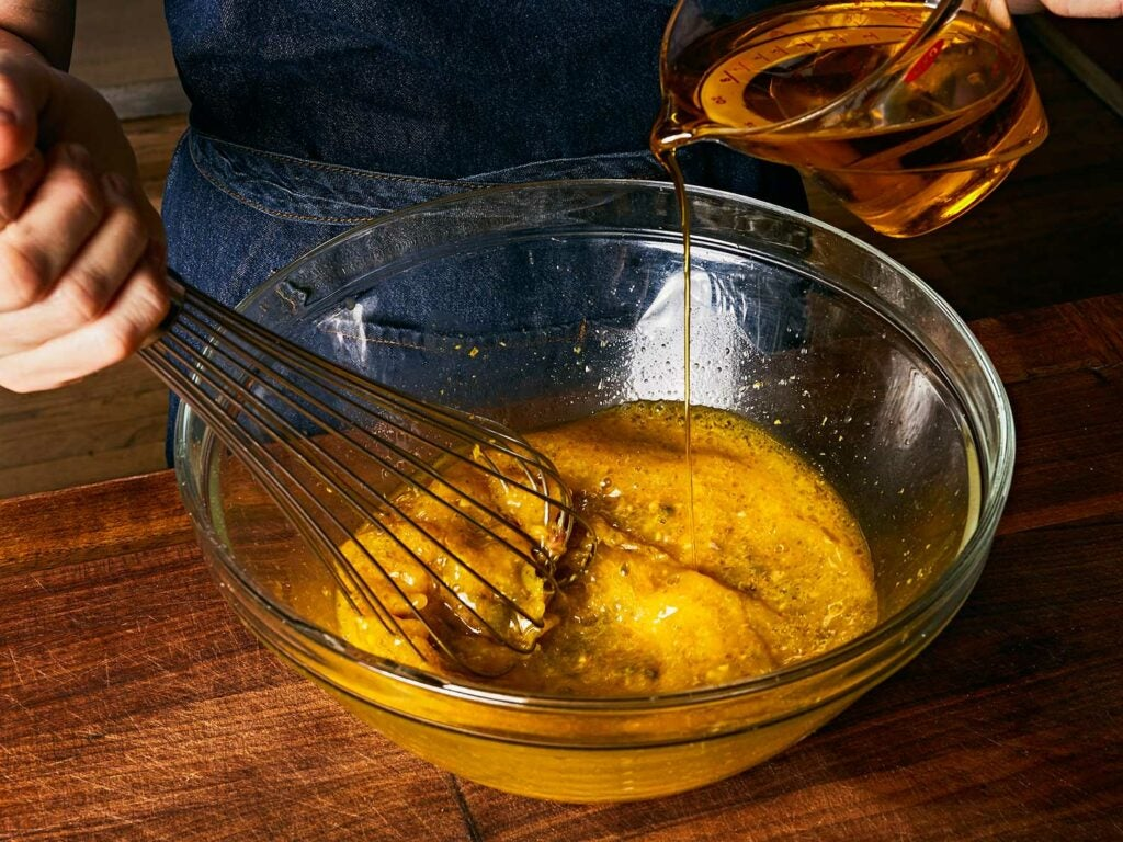 Robust, fruity, and peppery extra-virgin olive oil whisked into mixture.