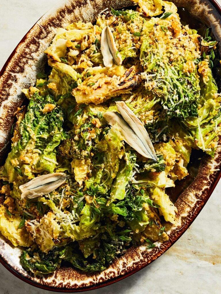 Grilled Cabbage Caesar Salad