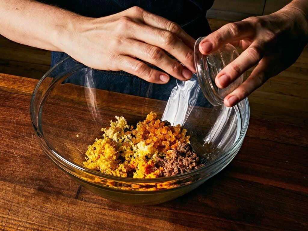 Golden raisins with other ingredients.