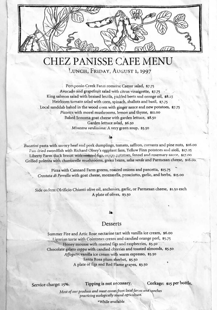A Chez Panisse Café menu from 1997 saved by the writer.