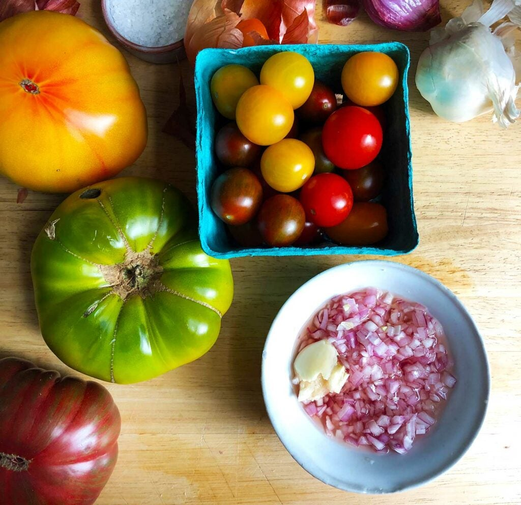 Alice Waters' tomato salad in progress