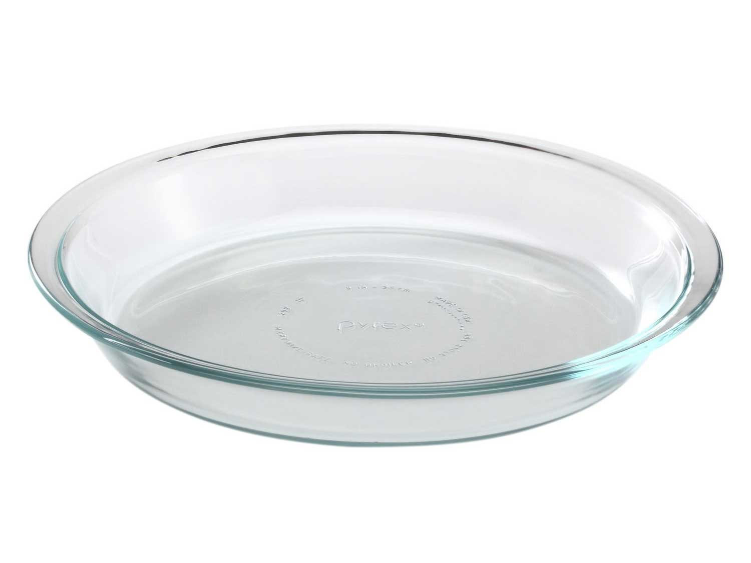 A basic 9-inch glass pie plate from Pyrex.