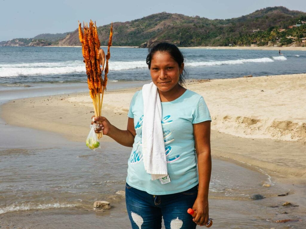 A pescado embarazado vendor in Sayulita.