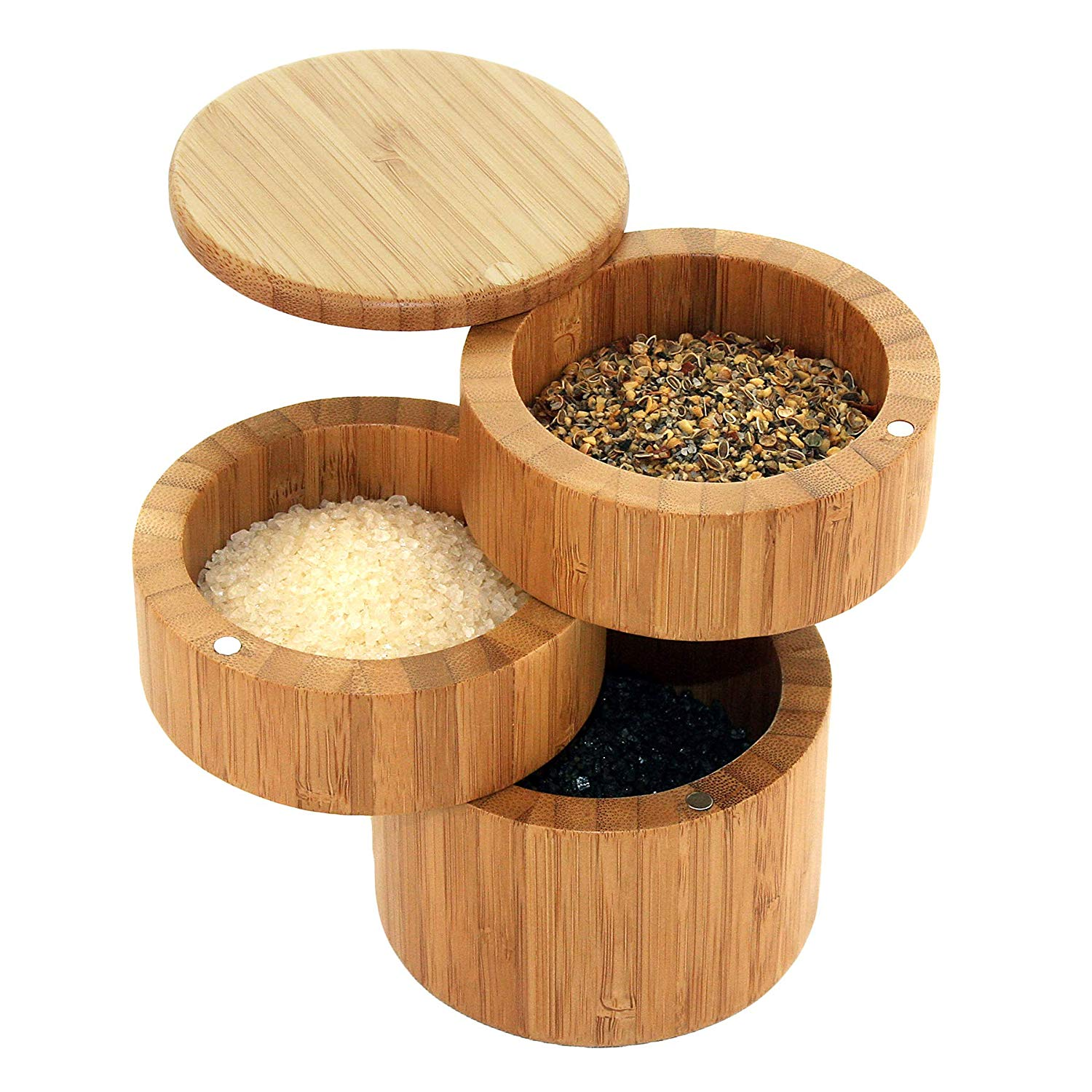 Totally Bamboo Triple Salt Box, Three Tier Bamboo Storage Box with Magnetic Swivel Lids