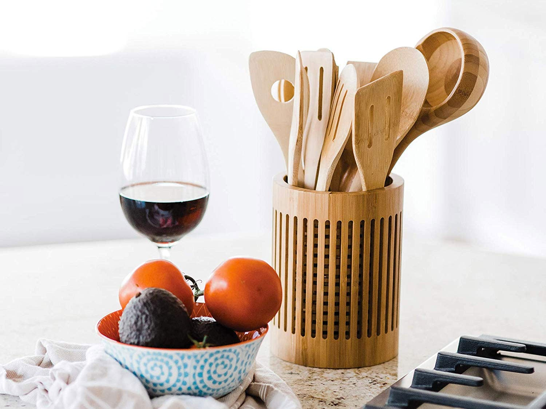 Bamboo utensil crock
