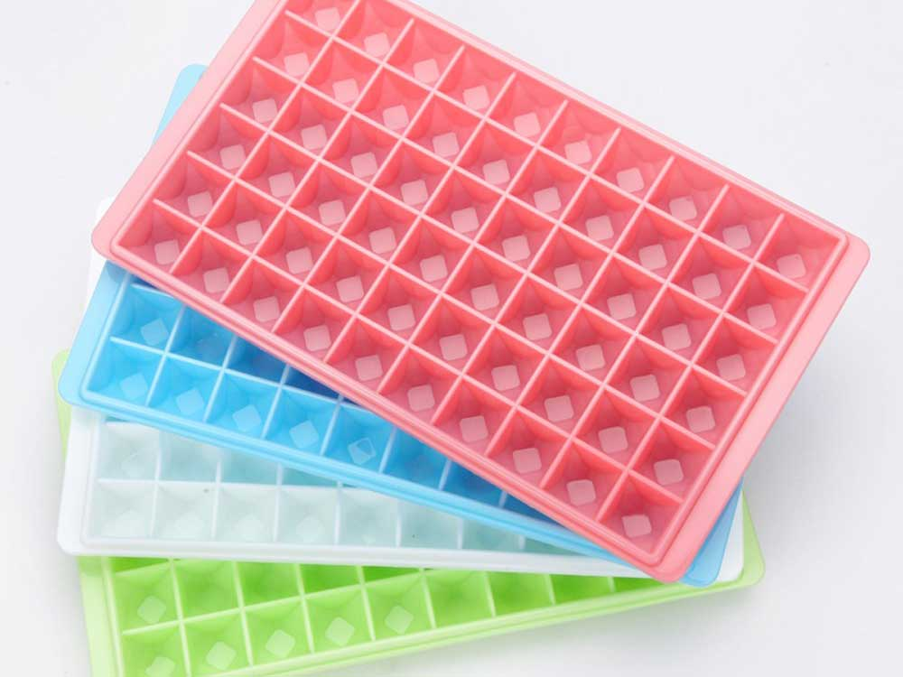 Mziart Easy Release Mini Ice Cube Trays, 60 Diamond Shaped Cubes Maker, Stackable