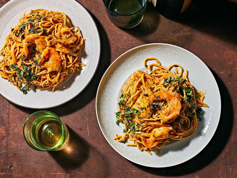 Spaghetti with Shrimp Rundown Sauce