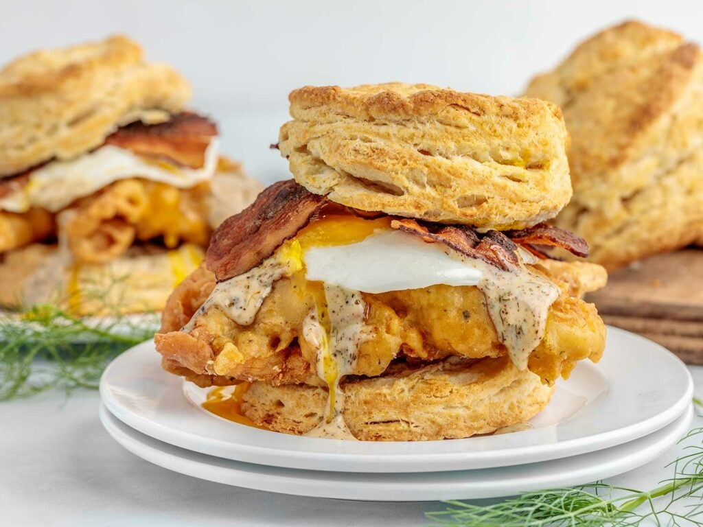 Perfectly crisp chicken, fried with a ranch-seasoned batter, tucked between pillowy biscuits.