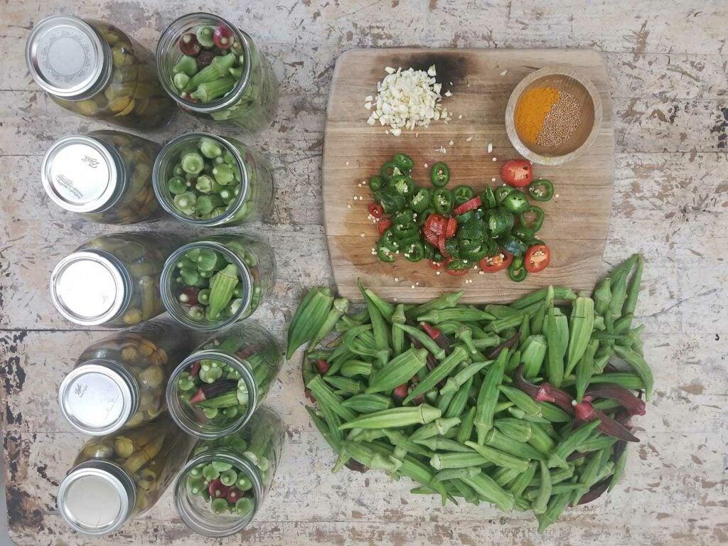 Jars of okra pickles in progress.