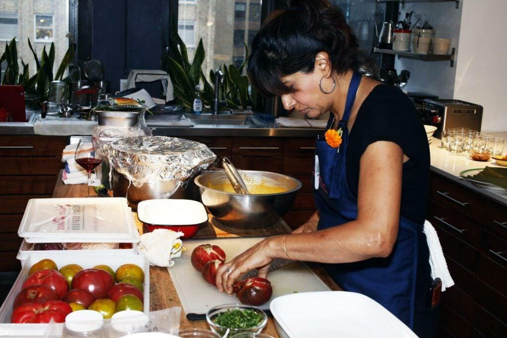 Chef Cheetie Kumar preparing heirloom tomatoes