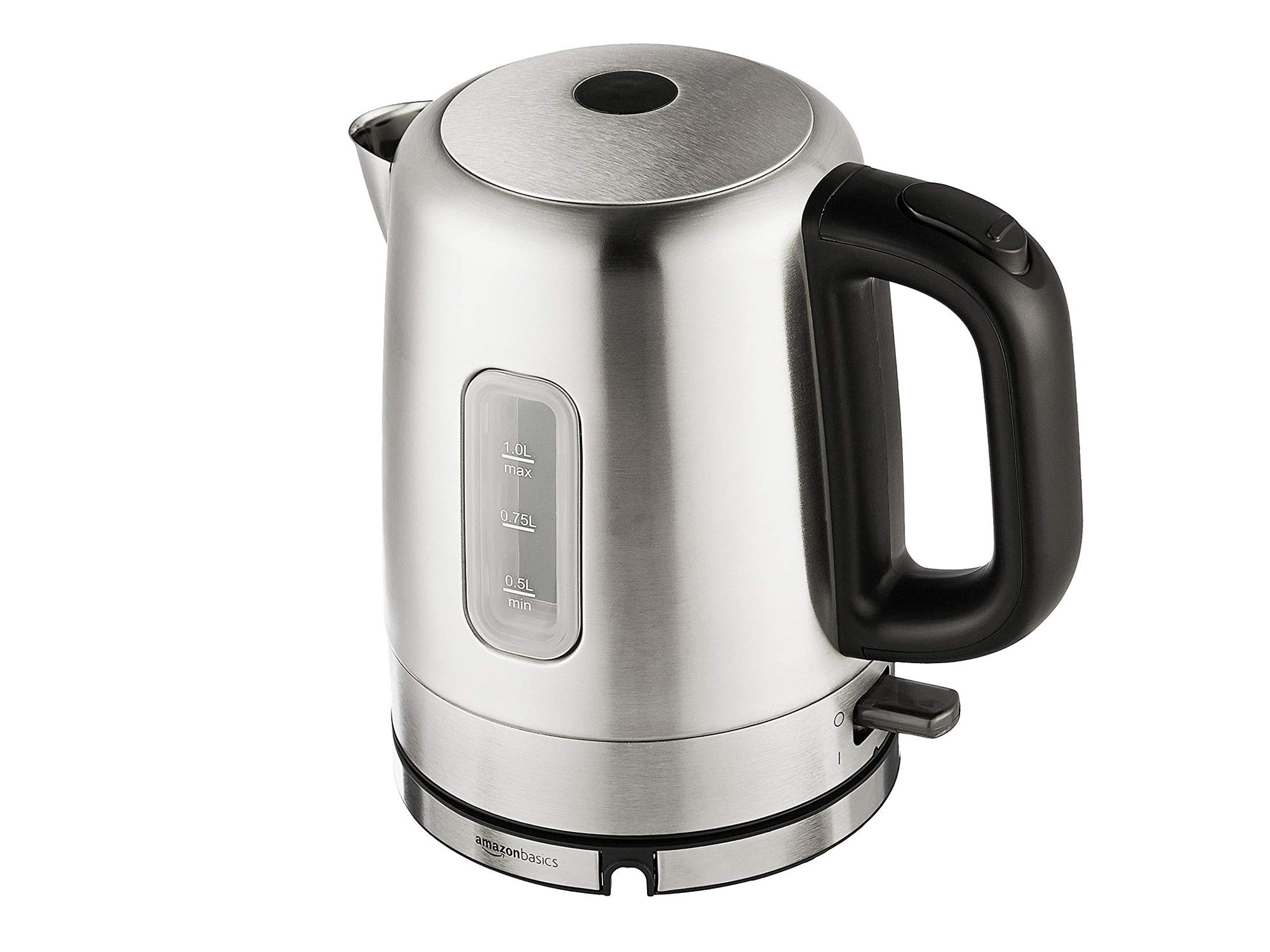 AmazonBasics Stainless Steel Portable Fast, Electric Hot Water Kettle for Tea and Coffee, 1 Liter, Silver