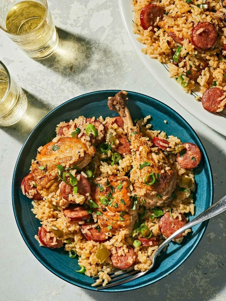 A sprinkling of chopped scallion and parsley on top of Jambalaya.