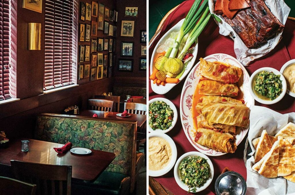 The Last Lebanese Steakhouse in Tulsa, Oklahoma. Seating and food.