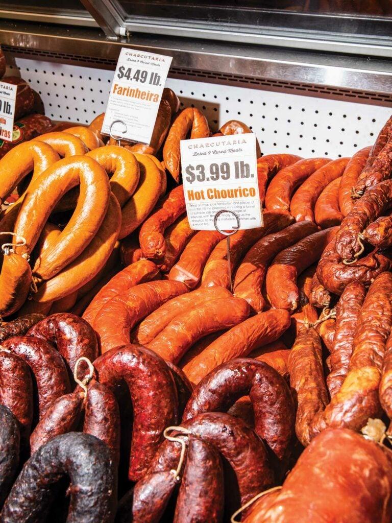 Hot Chourico and Farinheira sausages.