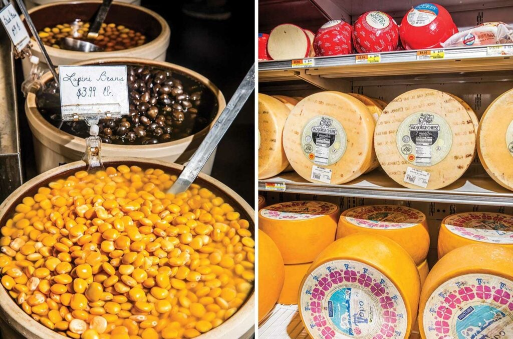 A selection of beans and cheeses at Portugalia Marketplace.