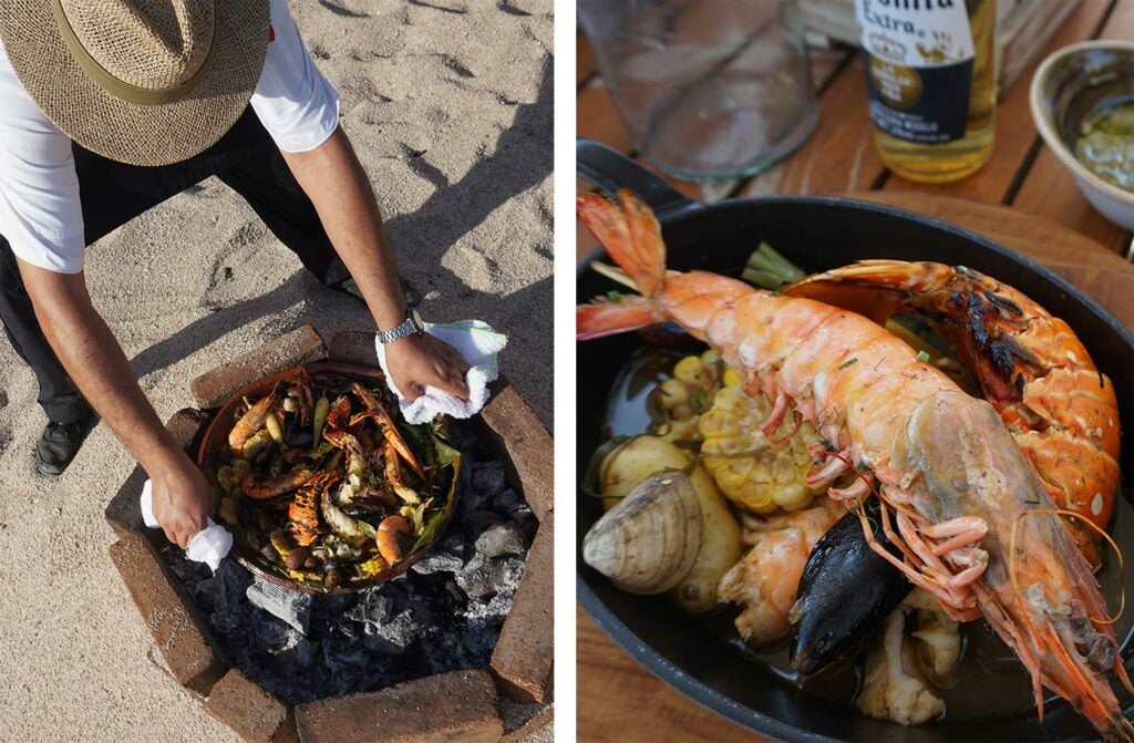 Lobster, and blue and brown shrimp cooked over an open fire.