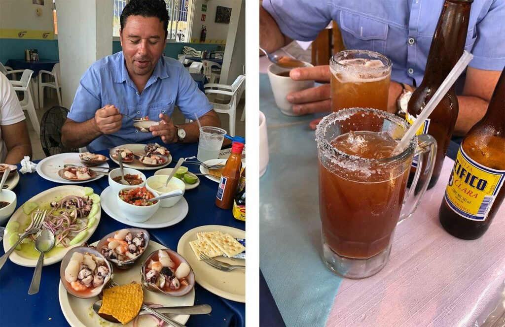 Chilled Mexican seafood; clam broth is often added to beer, in the form of Clamato micheladas.
