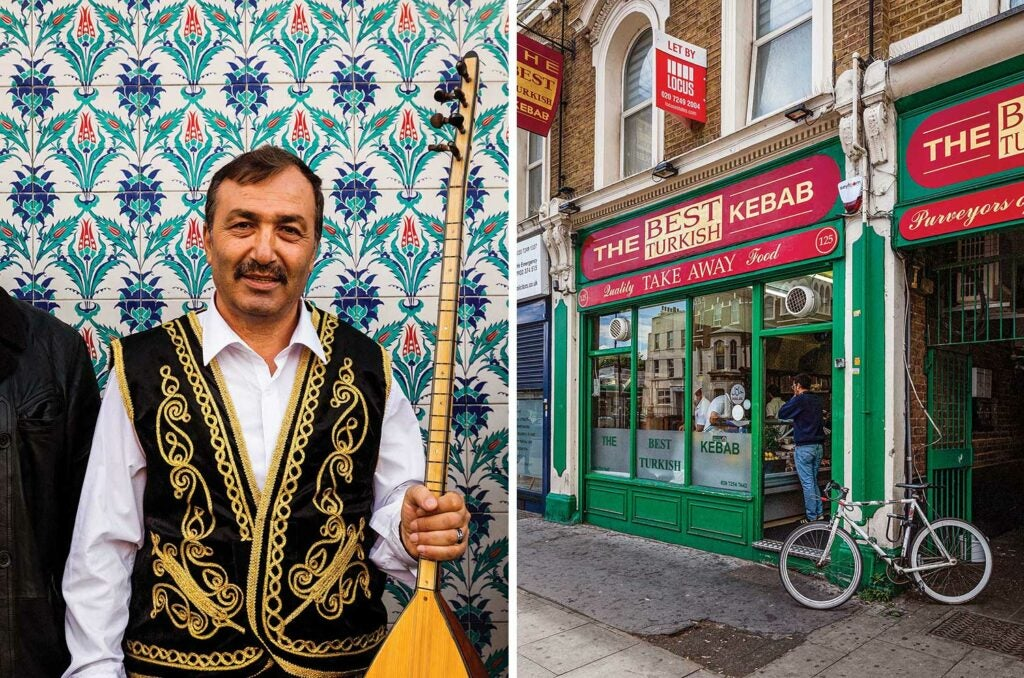 Man dressed in Turkish wardrobe in London's Little Istanbul and a grill house on the corner.