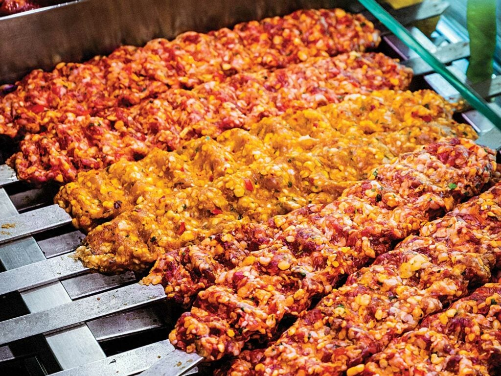 Freshly formed kebabs ready for the grill.