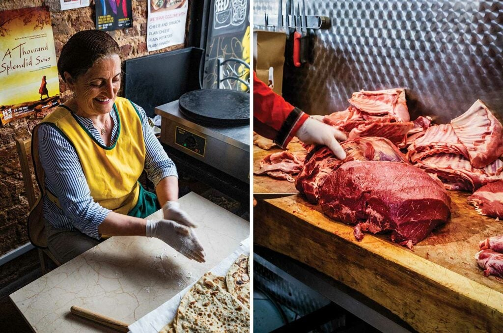 Flatbreads being and a butcher cutting meat in Hackney.