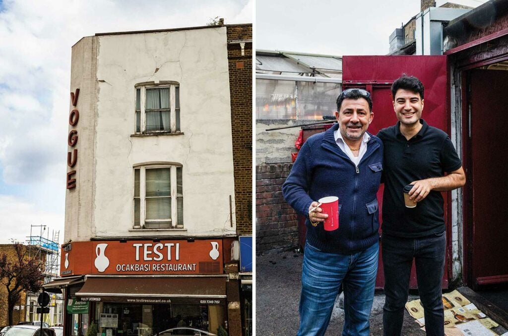The exterior of Testi restaurant and Ferhat Dirrik of Mangal II with a cousin.