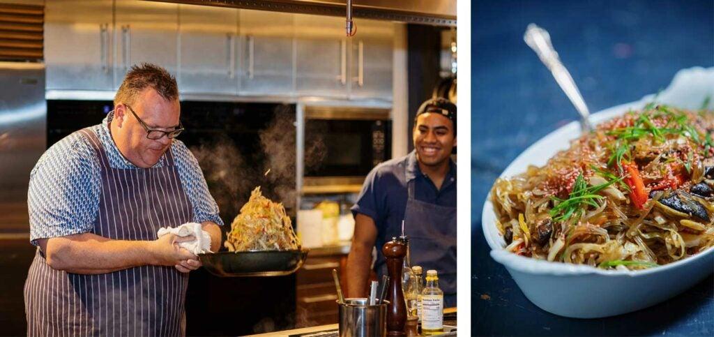 Shepherd's take on Korean japchae with onions, peppers, shiitake mushrooms, and plum sesame seeds.