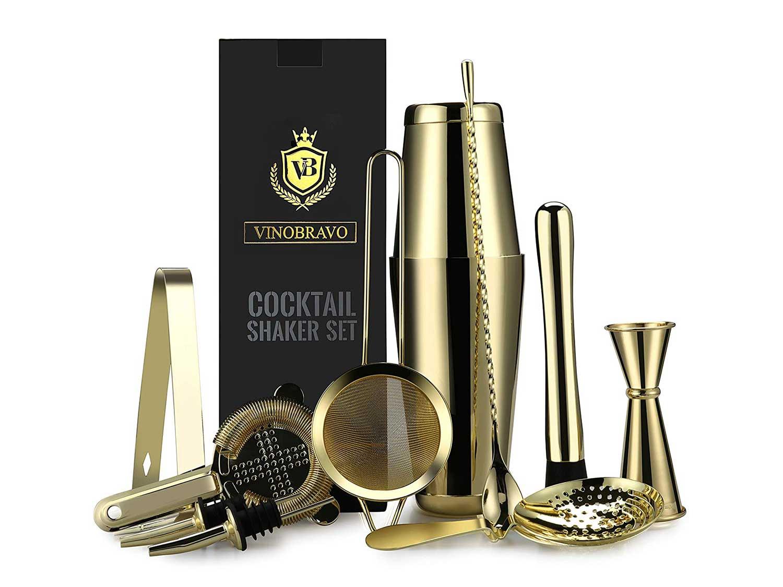 Vinobravo 11pc Gold Boston Shaker Bar Tool Set