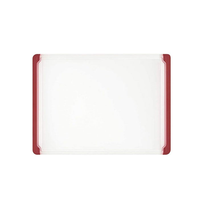 White Plastic Cutting Board with Red Edges