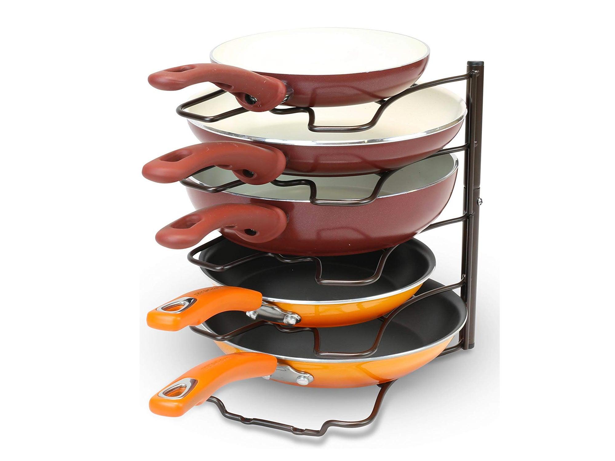 DecoBros Kitchen Counter and Cabinet Pan Organizer Shelf Rack