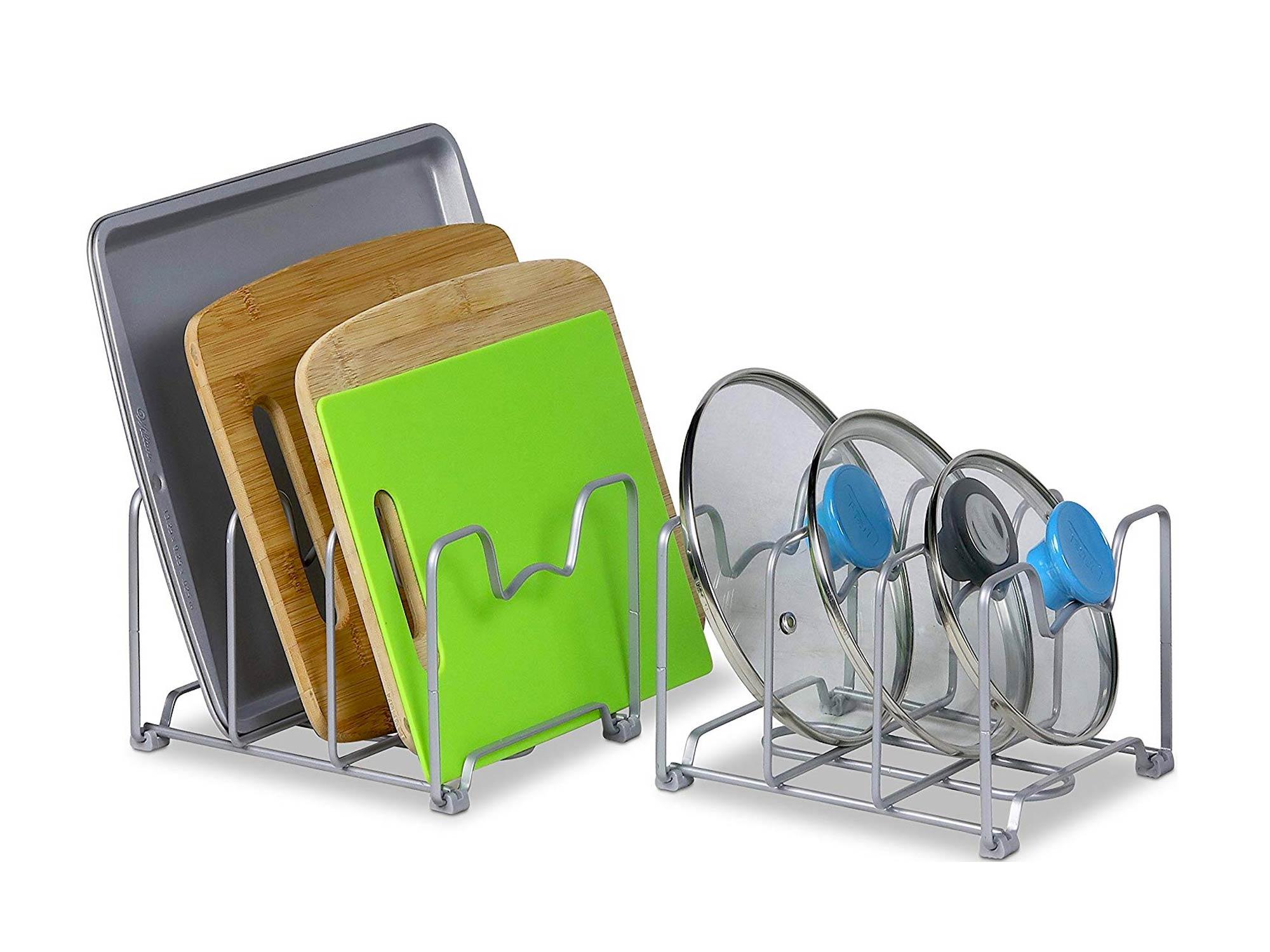 Simple Houseware Kitchen Cabinet Pantry and Bakeware Organizer Rack Holder