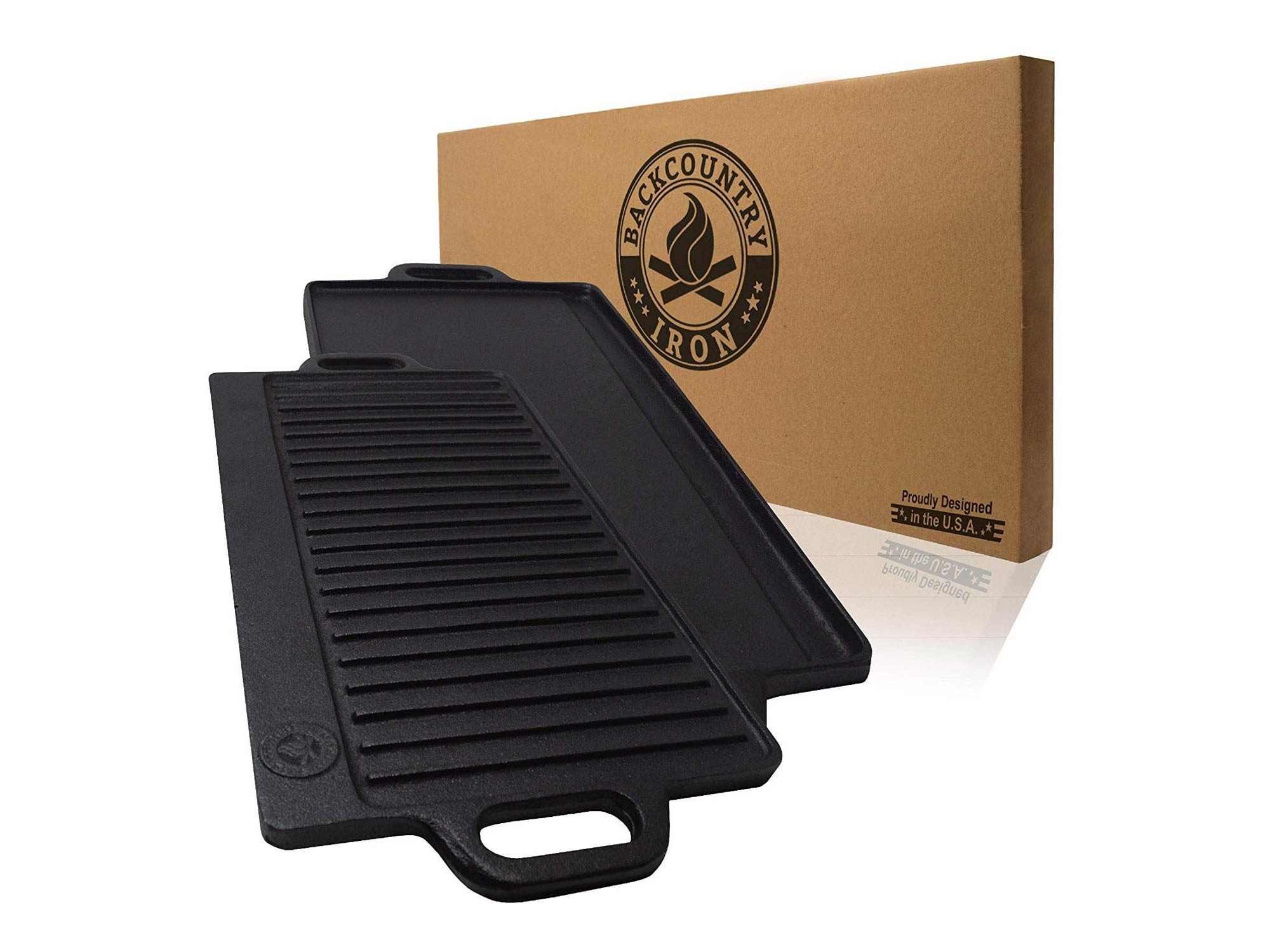 Cast iron grill on one side and a griddle on the other