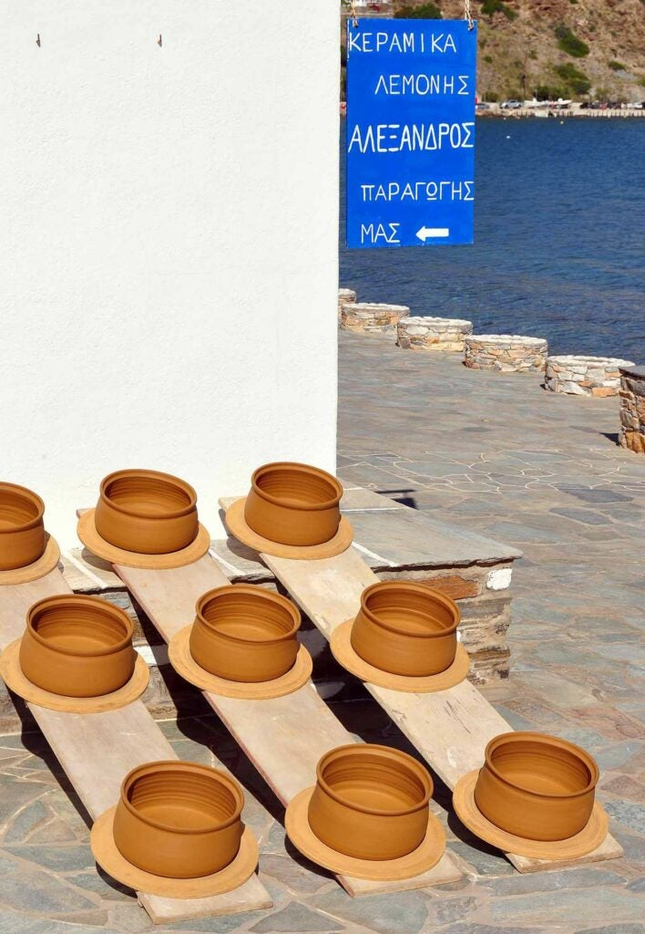 Pots dry in the sun in the town of Platis Gialos