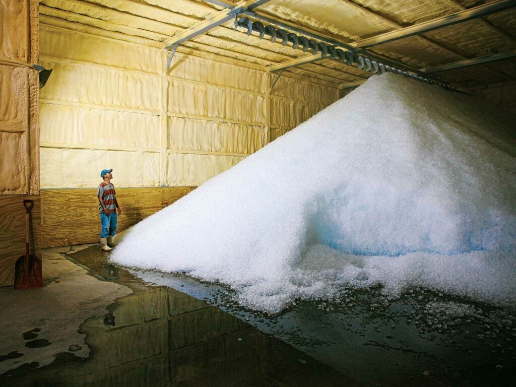 A massive pile of ice inside a refrigerated seafood storeroom.