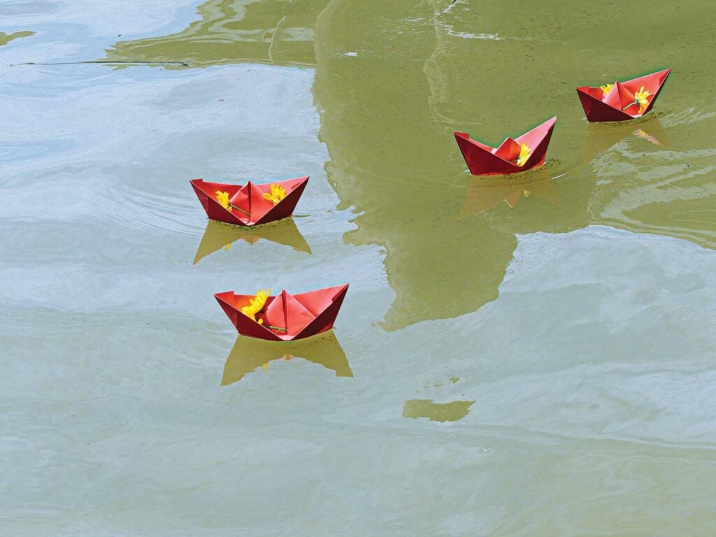 Paper boats are released for luck at the annual Blessing of the Fleet.