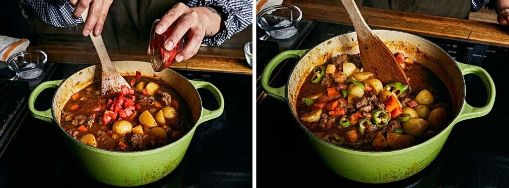 Tomatoes and Italian peppers make a bright addition to the stew.