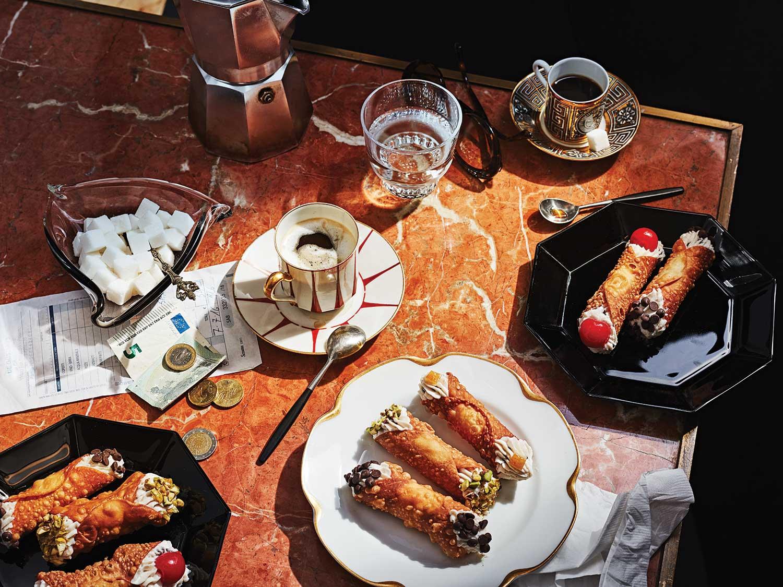 Cannolis on Sicilian spread.