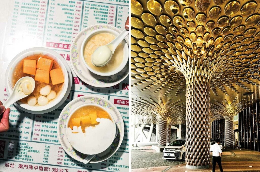Casual Cantonese-style desserts; the porte cochere at Morpheus.