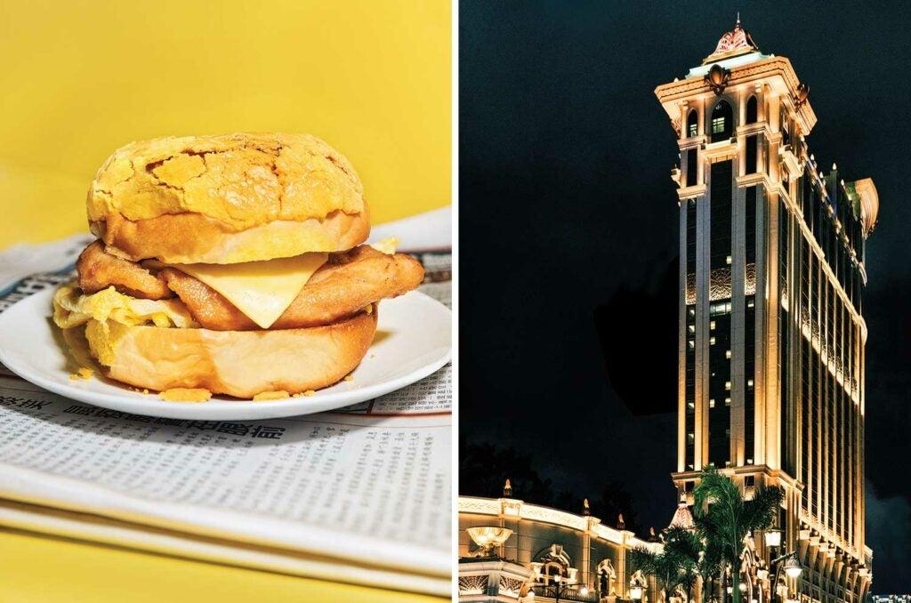 A classic Macanese pork bun; the Galaxy Macau casino resort.
