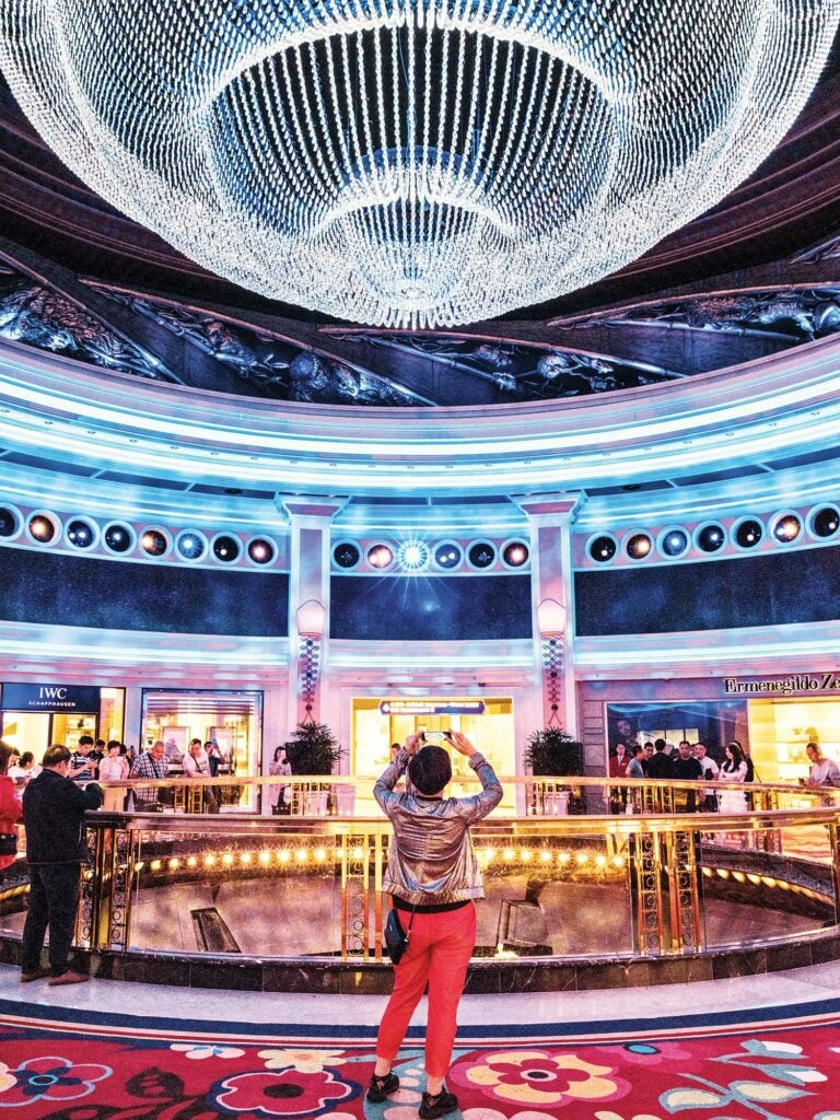 Swiss watches, Italian suits, and a gigantic chandelier at the Wynn.