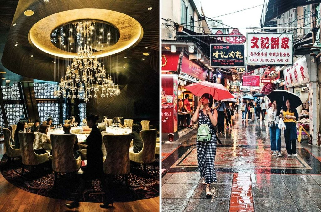A private dining room at Jade Dragon; a rainy day in Taipa Village.