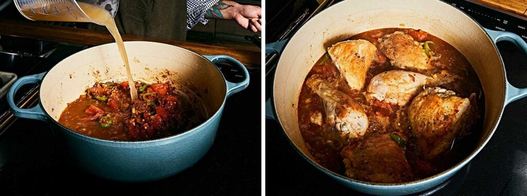 Adding paprika, vegetables, and broth, then nestling chicken back into the pot.