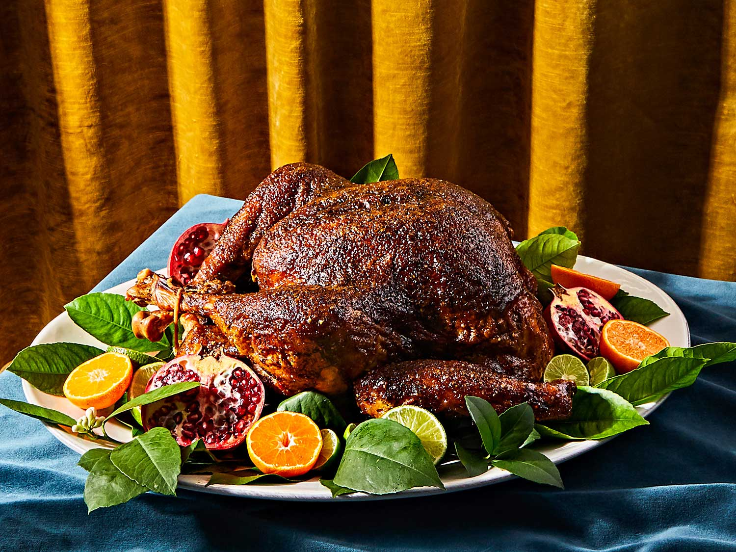Full of fiery chiles and warm spices, the all-purpose seasoning for this turkey can also be used as a rub on chicken, pork, goat, fish, and vegetables.
