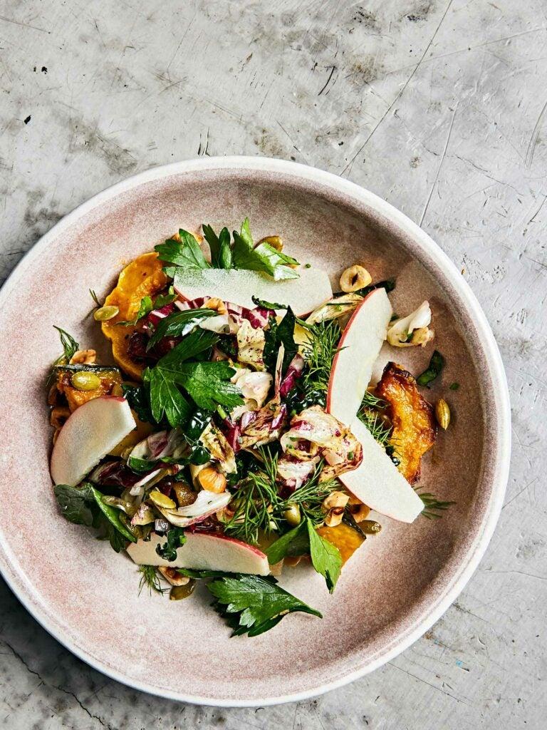 Fall squash salad with burrata and hazelnuts.