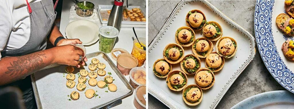 Ettarh puts the finishing touches on one of the canapés: broccoli tartlets with pimento cheese.