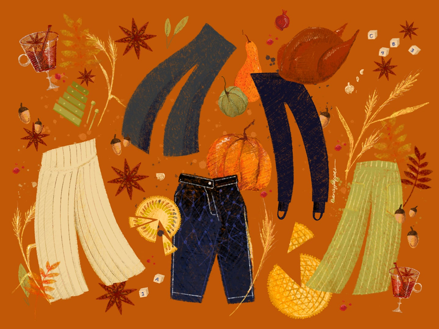 Five chic takes on Thanksgiving trousers.