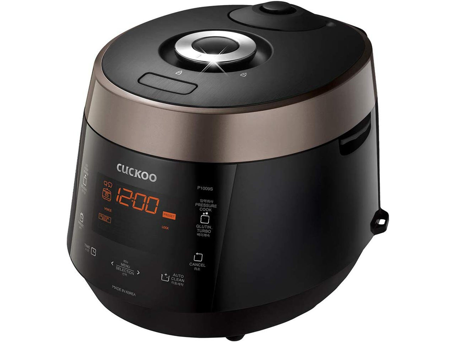 Cuckoo 10 Cup Electric Heating Pressure Cooker & Warmer – 12 Built-in Programs, Glutinous (White), Mixed, Brown, GABA Rice, and more, 15.70 x 11.50 x 11.70, Black