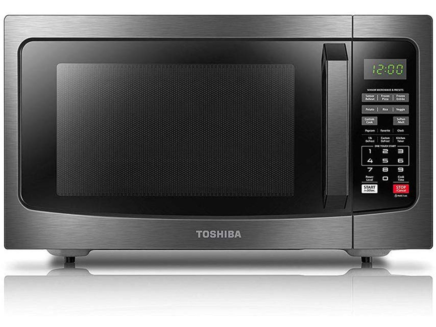 Toshiba Microwave Oven with Smart Sensor, Easy Clean Interior, ECO Mode and Sound On/Off, 1.2 Cu.ft, Black Stainless Steel
