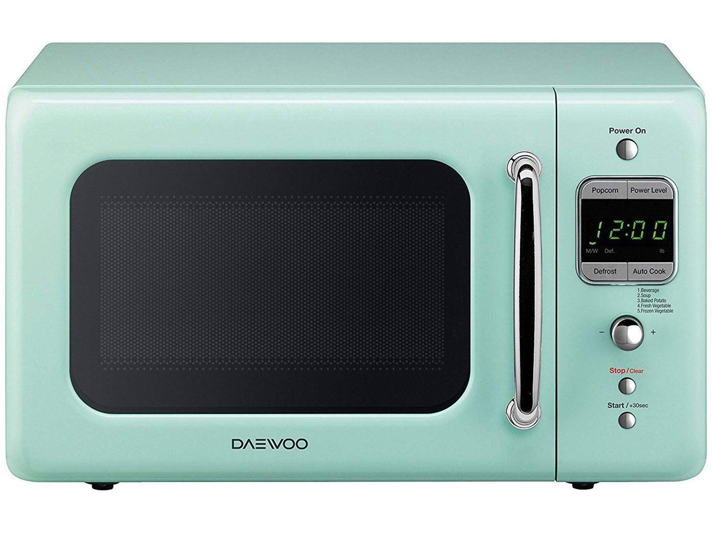Daewoo Retro Countertop Microwave Oven 0.7 Cu. Ft., 700W | Mint Green