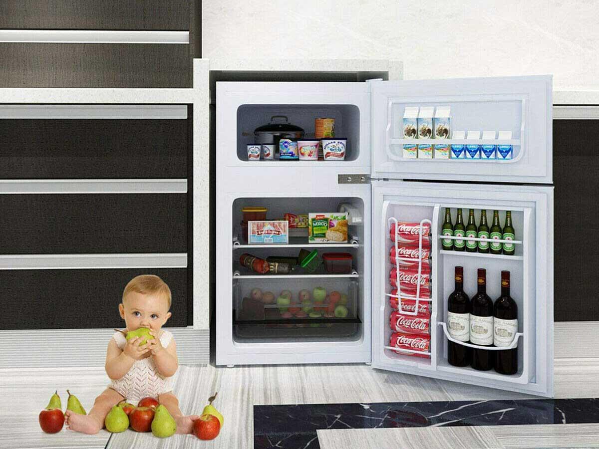 COSTWAY Compact Refrigerator, 3.2 cu ft. Unit 2-Door Mini Freezer Cooler Fridge with Reversible Door, Removable Glass Shelves, Mechanical Control, Recessed Handle for Dorm, Office, Apartment